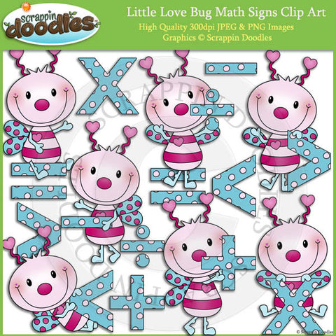 Little Love Bug Math Signs Clip Art