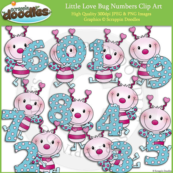 Little Love Bug Numbers Clip Art
