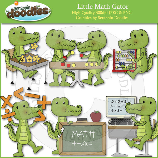 Little Math Gator Clip Art Download
