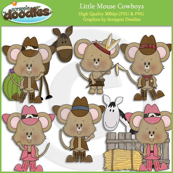 Little Mouse Cowboys Clip Art Download