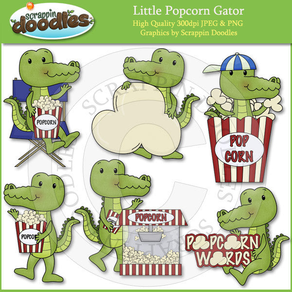 Little Popcorn Gator Clip Art Download