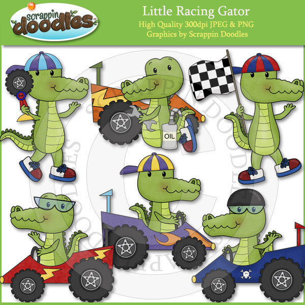 Little Racing Gator Clip Art Download