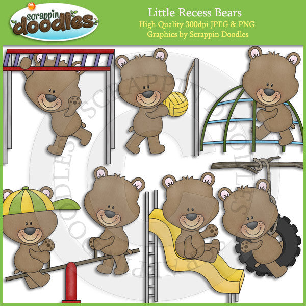 Little Recess Bears Clip Art Download