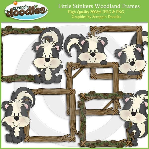Little Stinkers Woodland Frames Clip Art Download