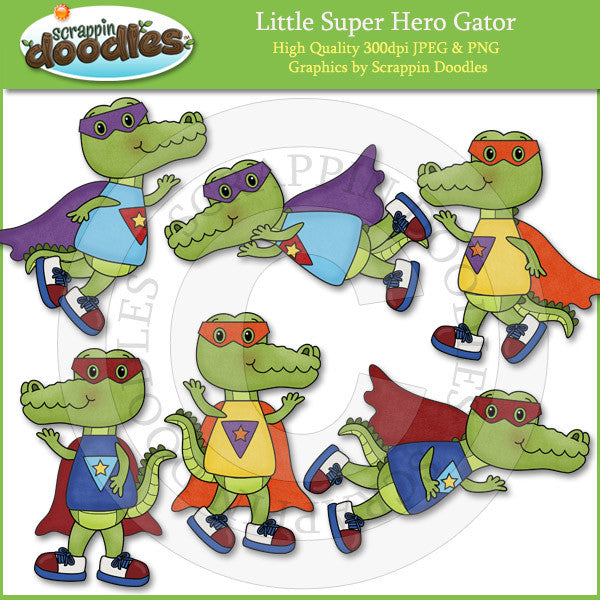 Little Super Hero Gator Clip Art Download