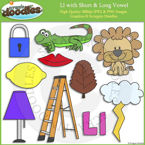 Ll Short and Long Vowel Clip Art and Line Art