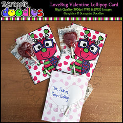 Love Bug Double Sided Valentine Lollipop Card