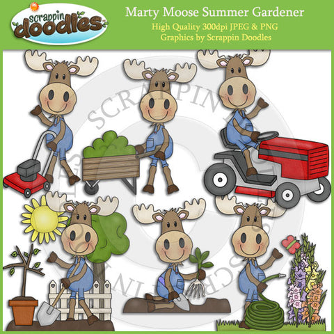 Marty Moose Summer Gardener Clip Art