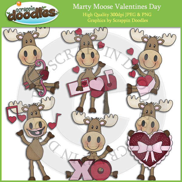 Marty Moose Valentines Day Clip Art Download