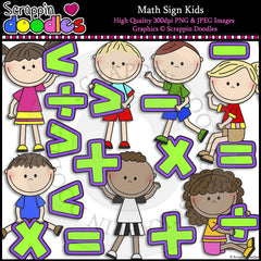 Math Sign Kids Clip Art & Line Art