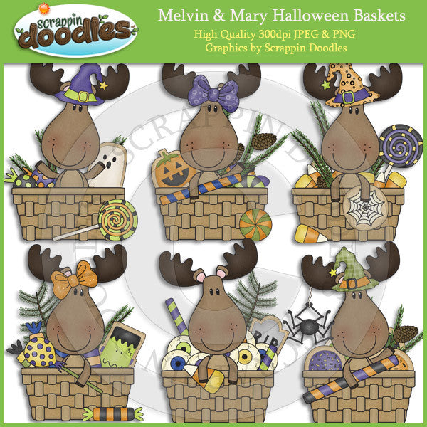 Melvin & Mary Halloween Baskets Clip Art Download