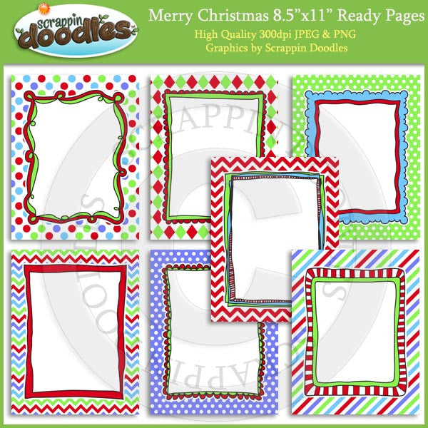 Merry Christmas 8 1/2 x 11 Ready Pages/Cover Pages & Frames
