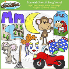 Mm Short and Long Vowel Clip Art and Line Art