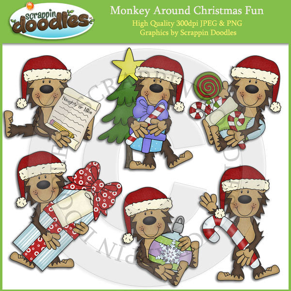Monkey Around Christmas Fun Clip Art Download