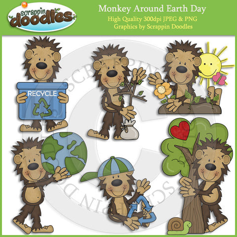 Monkey Around Earth Day Clip Art Download