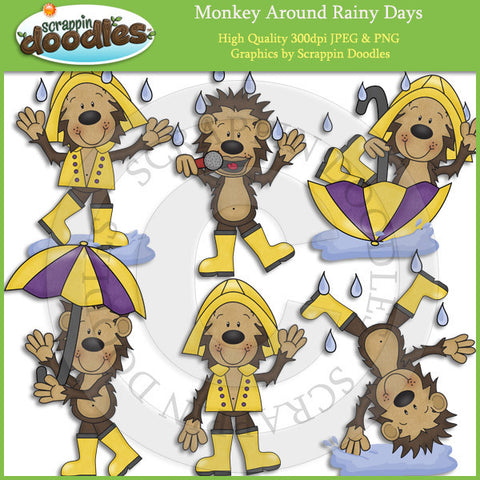 Monkey Around Rainy Days Clip Art Download
