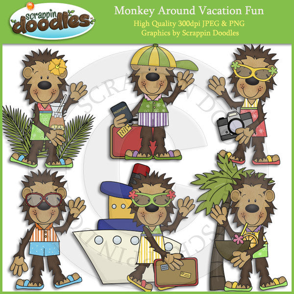 Monkey Around Vacation Fun Clip Art Download