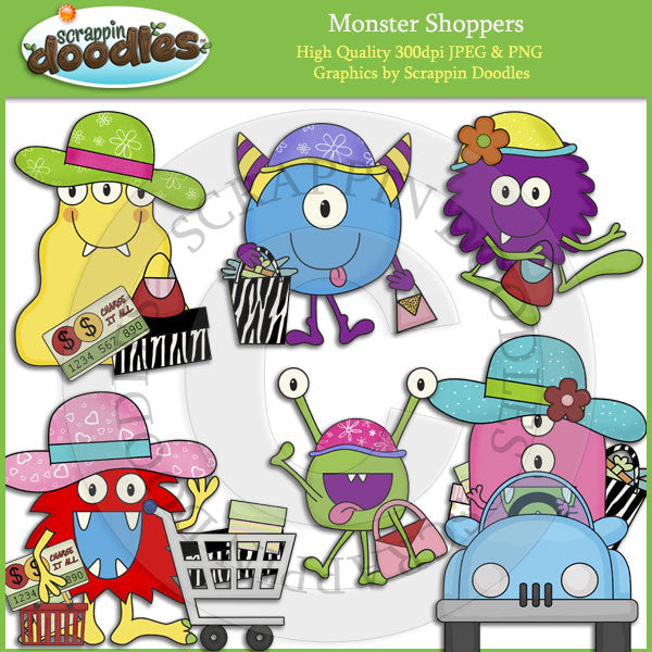 Monster Shoppers Clip Art Download