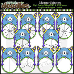 Monster Spinners Clip Art & Line Art