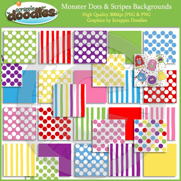 Monster Dots & Stripes Backgrounds Download