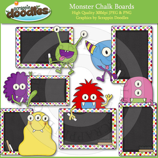 Monster Chalk Boards Clip Art Download