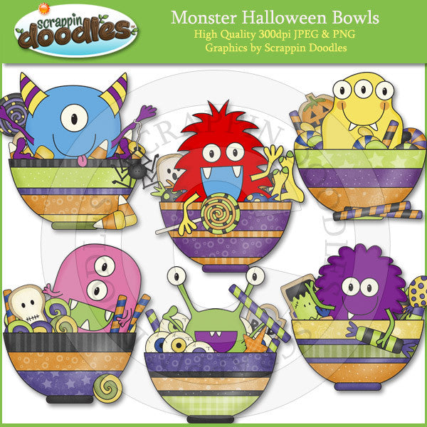 Monster Halloween Bowls Clip Art Download