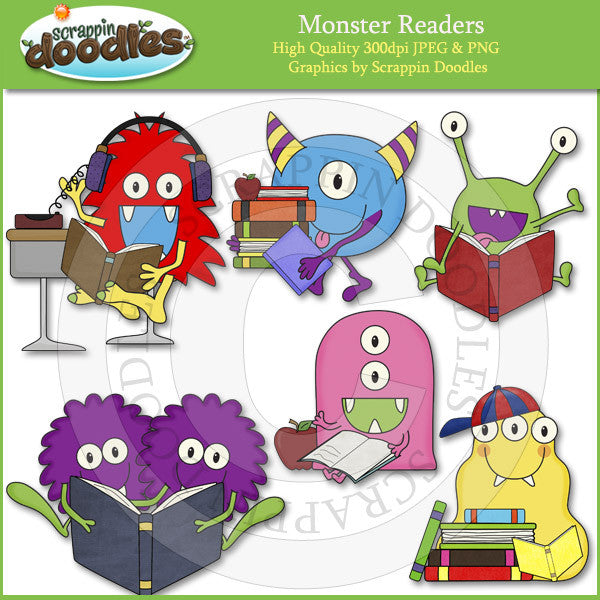 Monster Readers Clip Art Download