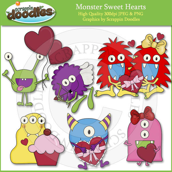 Monster Sweet Hearts Clip Art Download