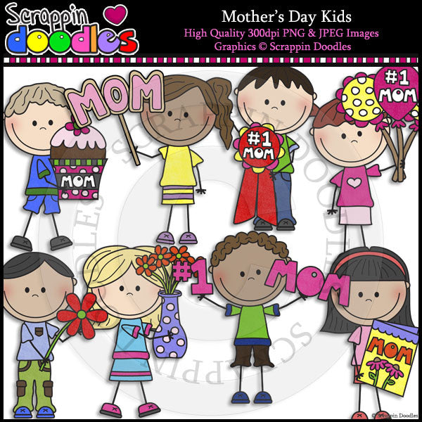 Mothers Day Kids Clip Art & Line Art