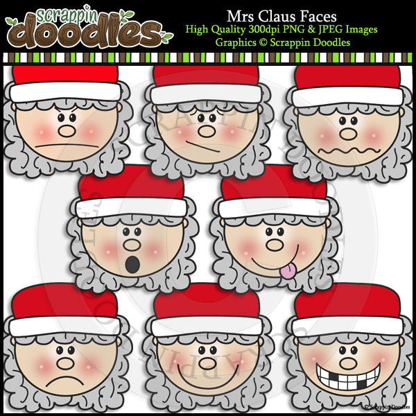 Mrs Claus Faces Clip Art & Line Art