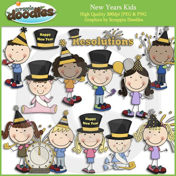 New Years Kids Clip Art Download
