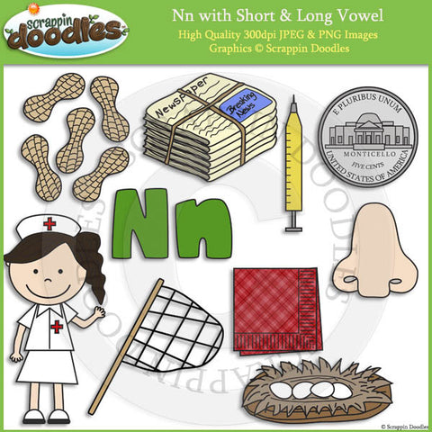 Nn Short and Long Vowel Clip Art and Line Art