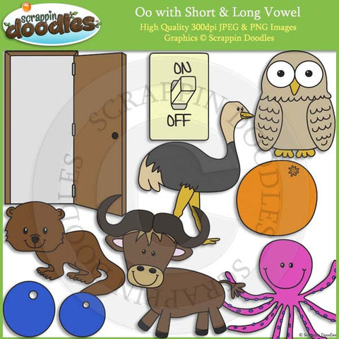 Oo Short and Long Vowel Clip Art and Line Art