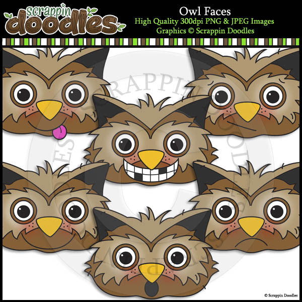 Owl Faces Clip Art & Line Art