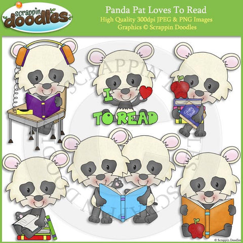 Panda Pat Loves to Read Clip Art