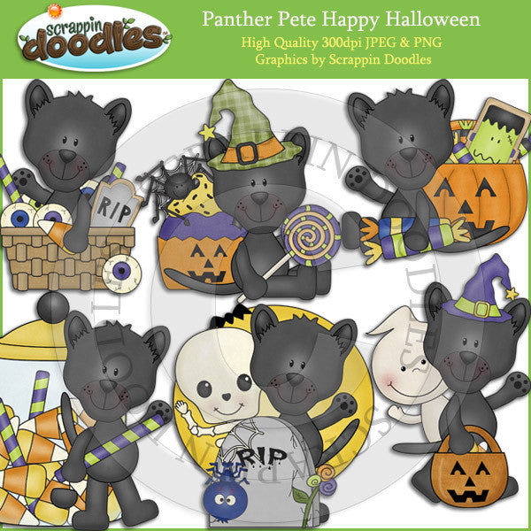 Panther Pete Happy Halloween Clip Art Download