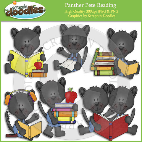 Panther Pete Reading Clip Art Download