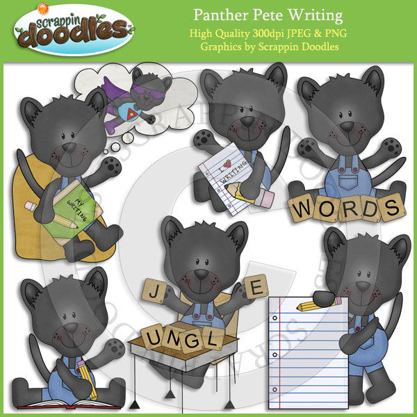 Panther Pete Writing Clip Art Download