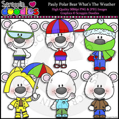 Pauly Polar Bear What's the Weather Clip Art & Line Art