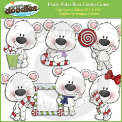 Pauly Polar Bear Candy Canes Clip Art Download