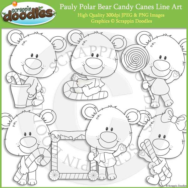 Pauly Polar Bear Candy Canes