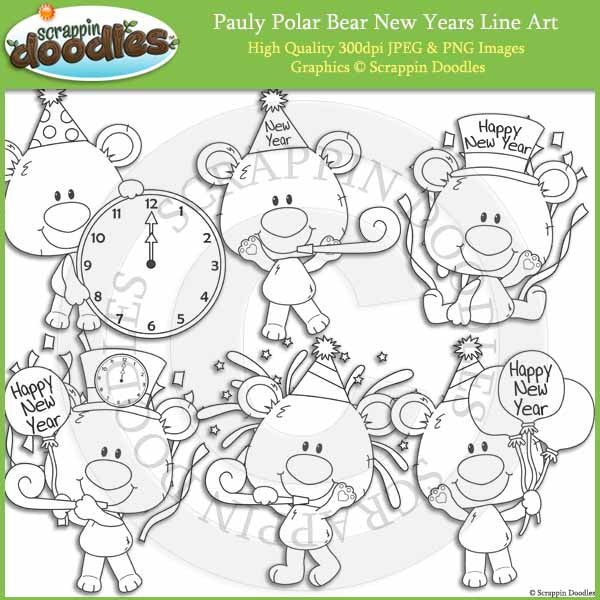 Pauly Polar Bear New Years Clip Art