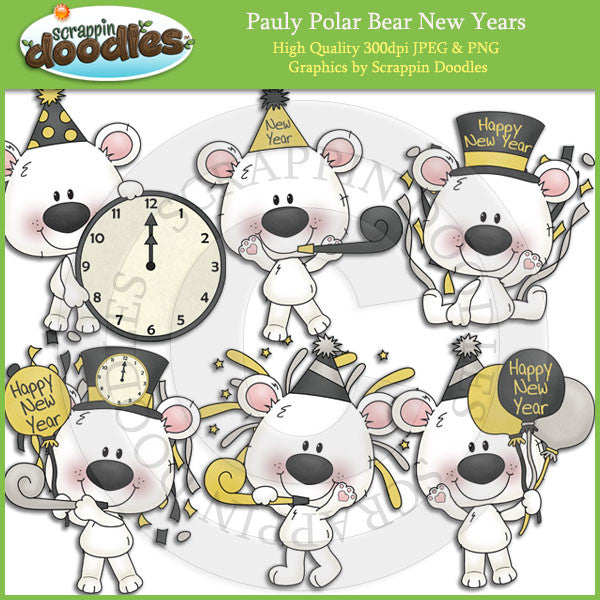 Pauly Polar Bear New Years Clip Art Download