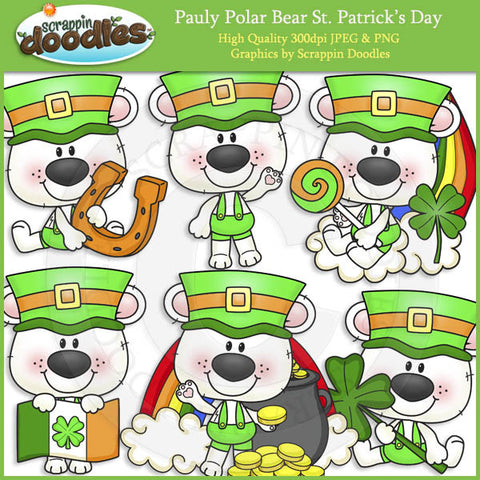 Pauly Polar Bear St Patrick's Day Clip Art