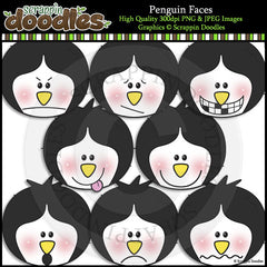 Penguin Faces Clip Art & Line Art