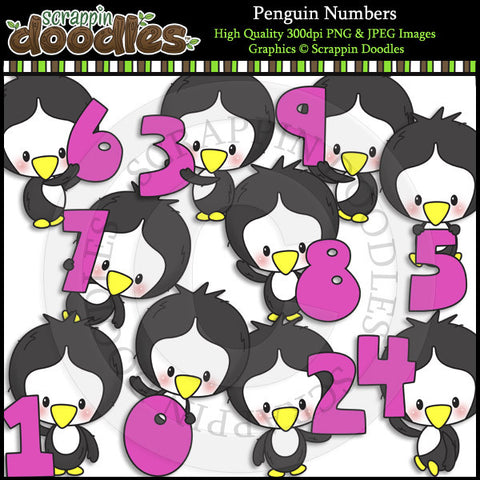Penguin Numbers Clip Art & Line Art