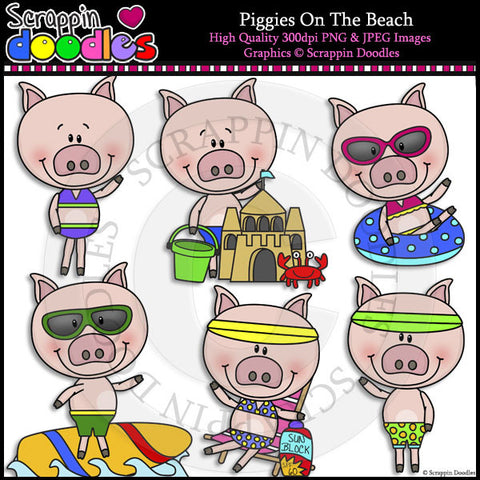 Piggies On The Beach Clip Art & Line Art