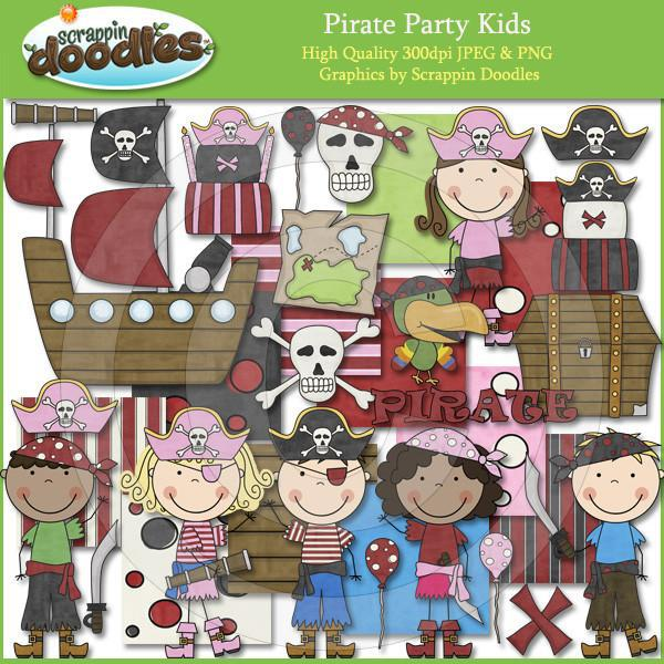 Pirate Party Kids Clip Art Download