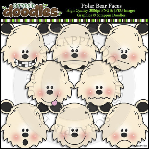 Polar Bear Faces Clip Art & Line Art