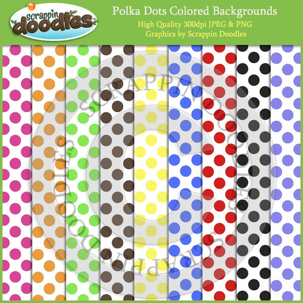 Colored Polka Dots on White Backgrounds Download